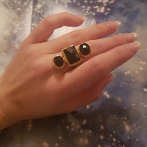 Black and Gold Faux Fashion Ring